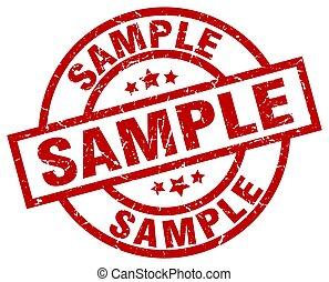 sample round red grunge stamp