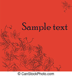 Sample text card with wine leaves motif, wine label