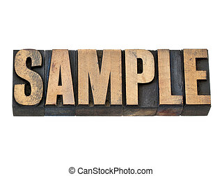 sample word in wood type