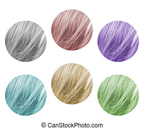 Samples of a hair palette in different colors