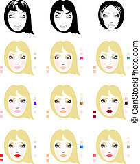 Samples of blonde woman face scheme for makeup application