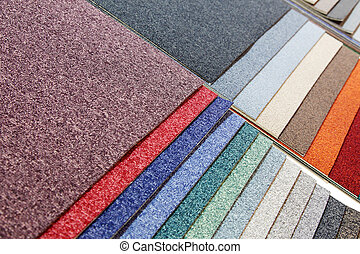 samples of carpets of different colours