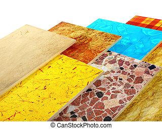 Samples of ceramic tiles. Isolated on white background