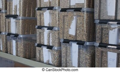 Samples of grains of wheat, barley in container for quality...