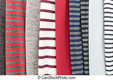 Samples of knitted fabric