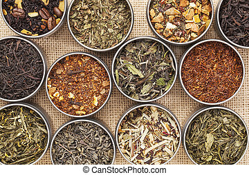 green, white, black and herbal tea