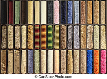 samples of multi-colored carpets