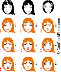 Samples of red-haired woman face scheme for makeup application