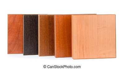 Samples of stained wood - Row of samples of stained wood for...