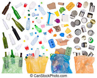Samples of trash that can be recycled isolated on white and in plastic bags