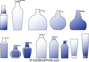 sampon, csomagolás, vektor, outli, palack