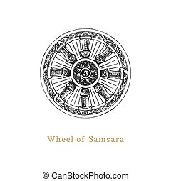 Samsara, Wheel of Life, vector illustration in engraving style. Vintage pastiche of esoteric and occult sign. Drawn sketch of magical and mystical symbol.