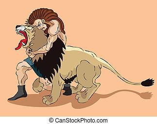 samson, löwe