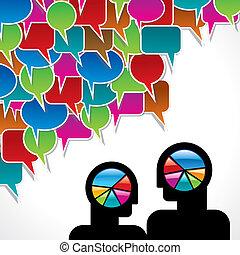 samtalen, folk, gøre bekendtskab med, hjul