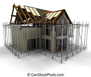 samtidig, hus, konstruktion under, med, byggnadsställning