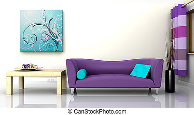 samtidig, interior, og, sofa