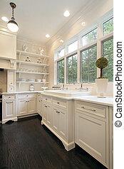 samtidig, køkken, hos, hvid, cabinetry