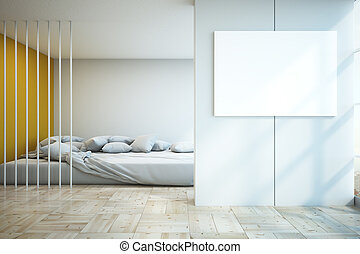 samtidig, sovrum, med, tom, affisch