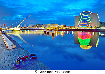 Samuel Beckett Bridge in Dublin at night