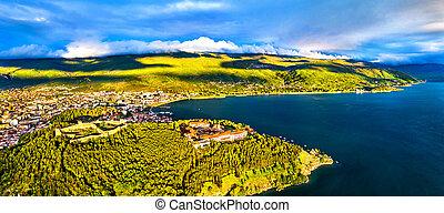 Samuels Fortress and Plaosnik at Ohrid in North Macedonia - ...