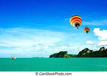 samui, balloon, luft, heiß, meer, thailand