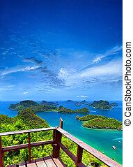 samui, standpunt, ko, angthong, park, archipel, panoramisch, thailand., eilanden, marinier, nationale, aanzicht
