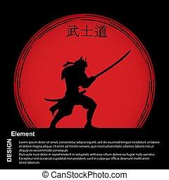 Samurai, a red disc with a hieroglyph Bushido, Japanese...