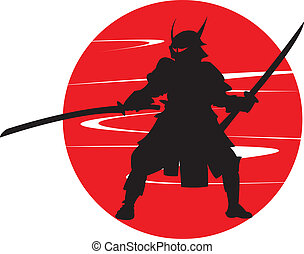 A samurai in silhouette.