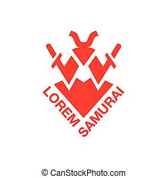Samurai and two swords behind him. Red abstract geometric emblem template.