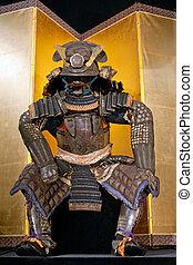 samurai armor - historic samurai armor on yellow