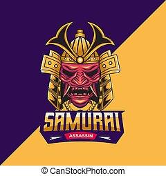 samurai assassin mascot logo template