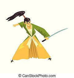 Samurai cartoon character fighting with katana sword, Japanese warrior in traditional clothes vector Illustration on a white background
