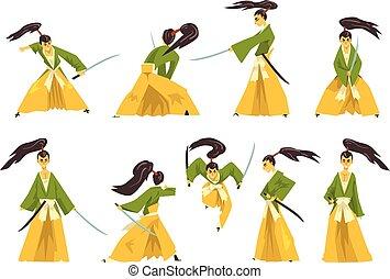 Samurai cartoon character set, Japanese warrior in...