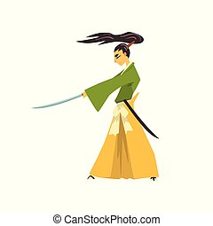 Samurai cartoon character with katana, Japanese warrior in traditional clothes vector Illustration on a white background