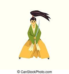 Samurai cartoon character with katana sword, Japanese warrior in traditional kimono vector Illustration on a white background