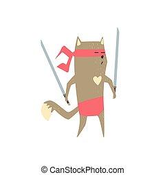 Samurai Cat With Two Swords