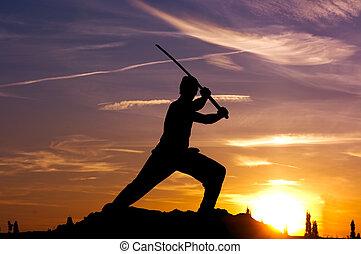 samurai, cielo, espada, hombre