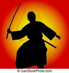 Samurai - Coloured background and Samurai silhouette.