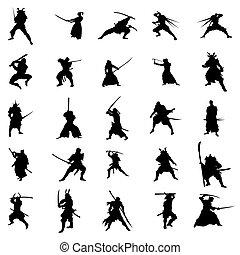 samurai, Conjunto, silueta, guerreros