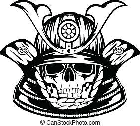 samurai, cráneo, casco