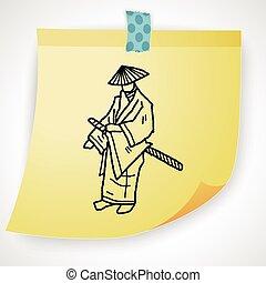 samurai, doodle