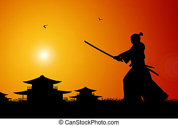 Samurai - Ilustration of ancient japanese scene