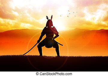 Samurai - Silhouette illustration of a samurai general