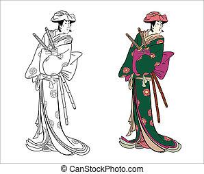 Samurai female warrior - Vector illustration samurai female...
