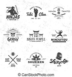 samurai, giappone, grunge, sport, sensei, logo., badge., ninja, maestro, katana, fondo, t-shirt, set, cranio, insegne, mascotte, concetto, design.