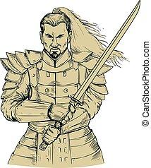 samurai, guerrero, dibujo, postura, swordfight