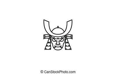 samurai head skull japan logo design