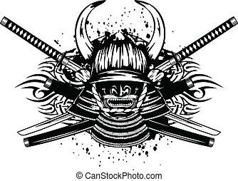 samurai helmet and crossed katana and saya