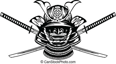 Samurai helmet , menpo with yodare-kake and crossed katanas