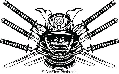 samurai helmet, menpo with yodare-kake, crossed katanas -...